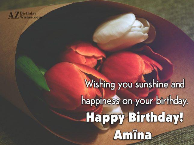Happy Birthday Amina - AZBirthdayWishes.com