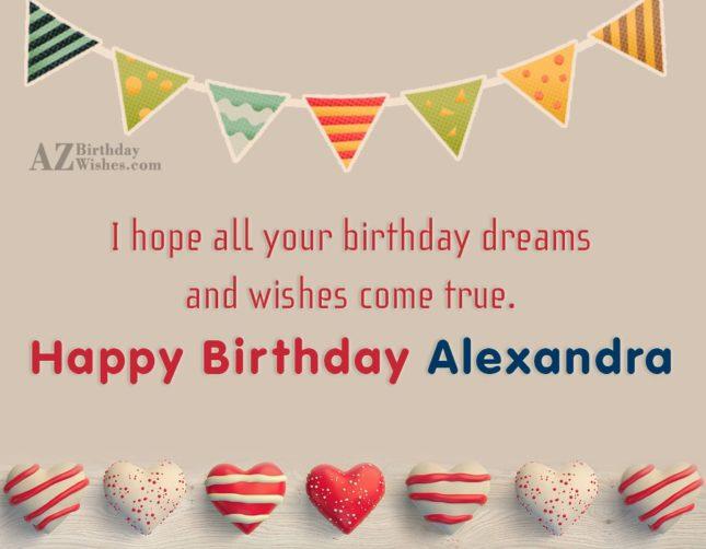 Happy Birthday Alexandra - AZBirthdayWishes.com