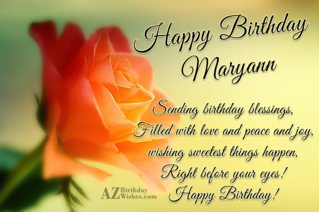 Happy Birthday Maryann - AZBirthdayWishes.com