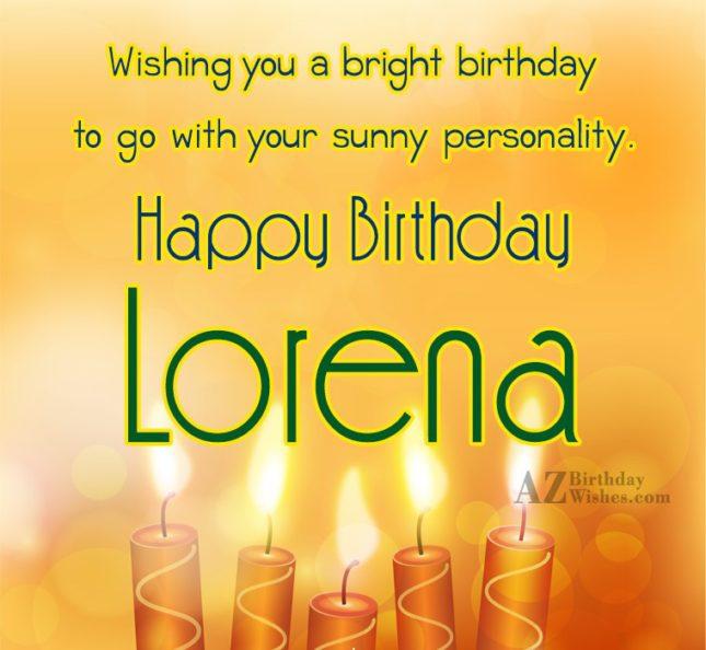 Happy Birthday Lorena - AZBirthdayWishes.com