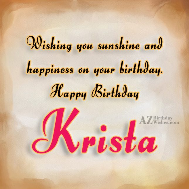 Happy Birthday Krista - AZBirthdayWishes.com