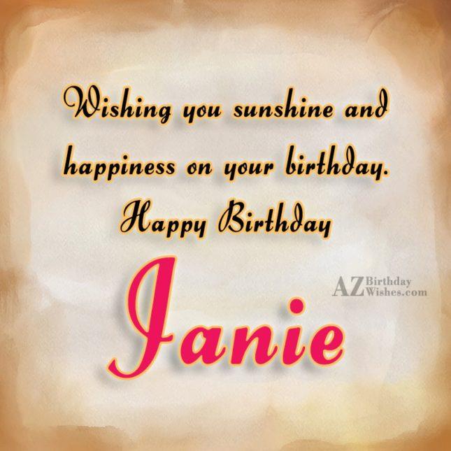 Happy Birthday Janie - AZBirthdayWishes.com