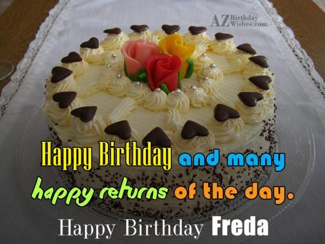 Happy Birthday Freda - AZBirthdayWishes.com