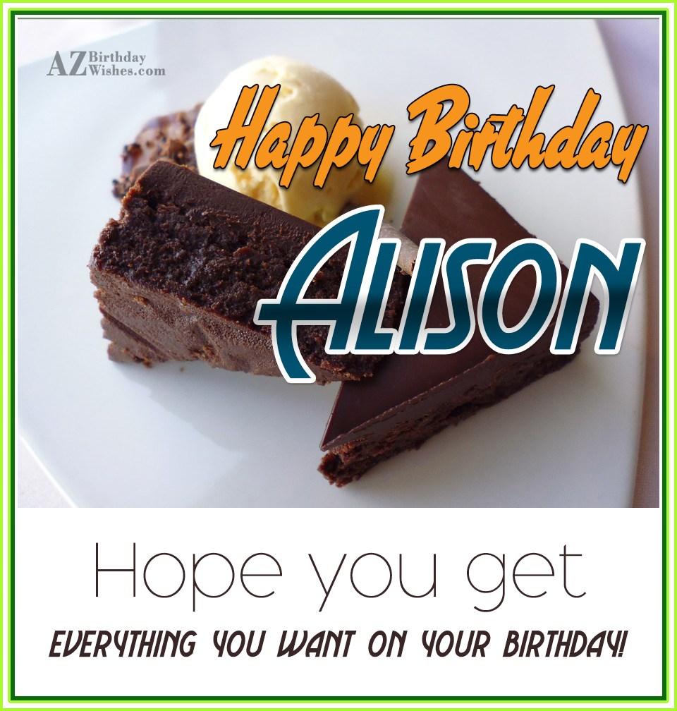Happy Birthday Alison