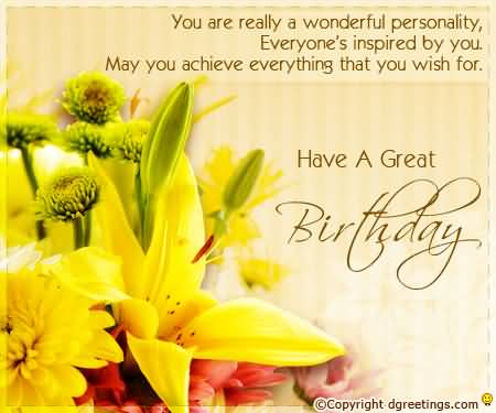 You are a really wonderful personality… - AZBirthdayWishes.com