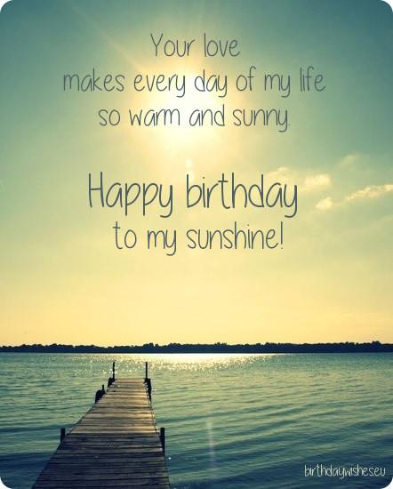 Happy birthday to my sunshine… - AZBirthdayWishes.com