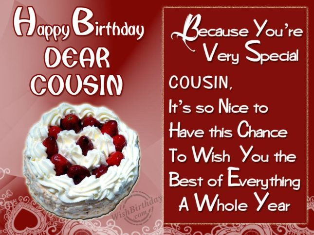 Happy Birthday dear cousin… - AZBirthdayWishes.com