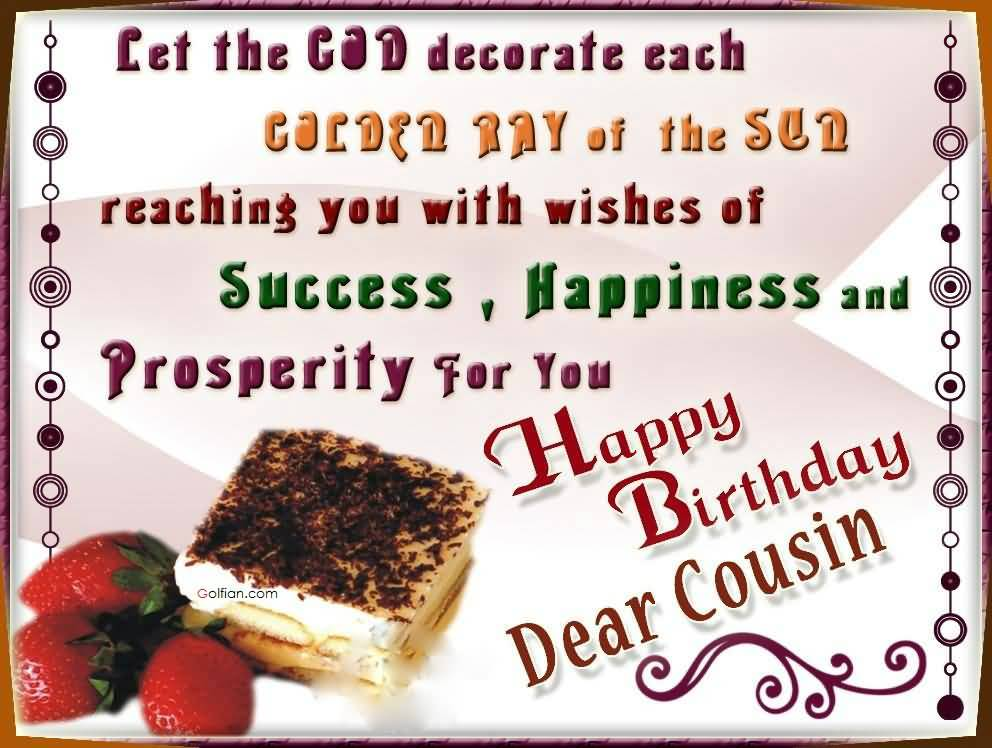 Birthday wishes for cousin happy birthday dear cousin m4hsunfo